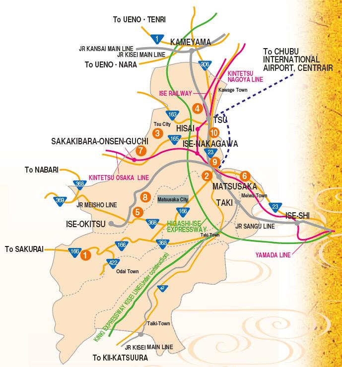 mapa - regiao central de mie