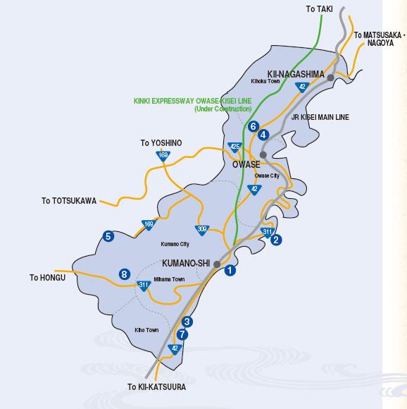 mapa - regiao higashi kumano owase