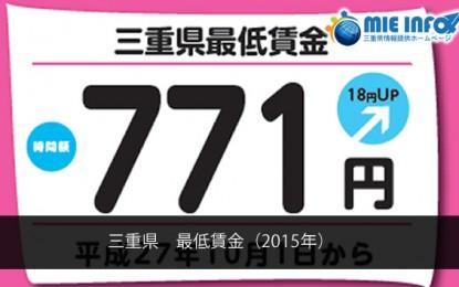 三重県の最低賃金(平成27年10月1日発効)