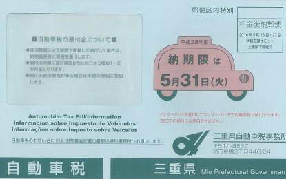 2016年度の自動車税の納期限について