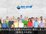 県内の外国人住民数が43,445人(前年比+4.4%)に増加しました