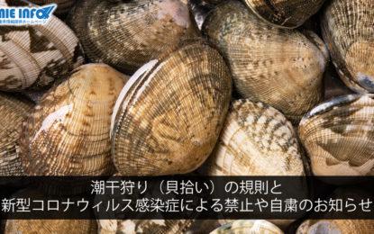 潮干狩り(貝拾い)の規則と新型コロナウィルス感染症による禁止や自粛のお知らせ