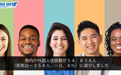 県内の外国人住民数が54,854人(前年比-354人、-0.6%)に減少しました